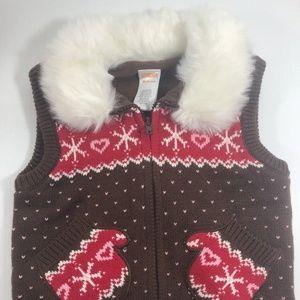 Gymboree Snowflake Winter Vest 18-24m Heart Pompom